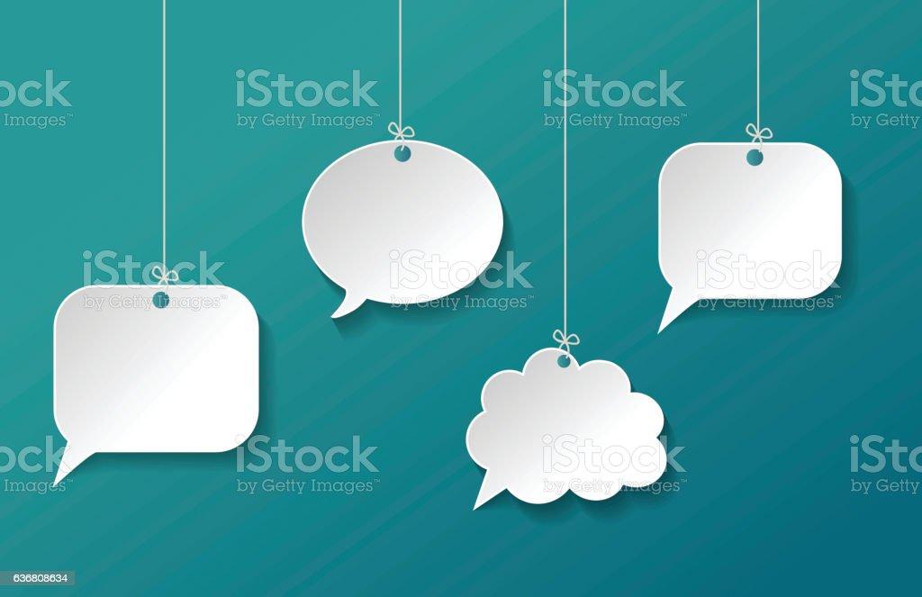 Paper Speech Bubble Hanging on Background vector art illustration