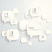 Paper speech bubbles background, design illustration.