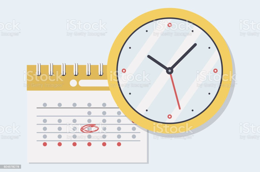Paper Spiral Wall Calendar And Clocks Calendar Clocks Flat Icon Schedule Appointment Organizer Timesheet Time Management Important Date Stock Illustration Download Image Now Istock