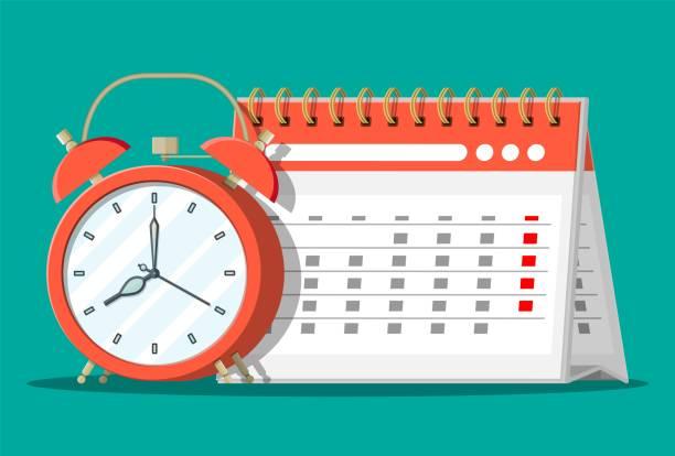 Papier-Spirale-Wandkalender und Uhren. – Vektorgrafik