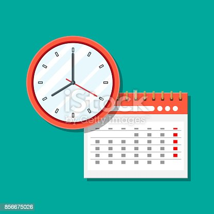 Paper spiral wall calendar and clocks. Calendar clocks flat icon. Schedule, appointment, organizer, timesheet, time management, important date. Vector illustration in flat style