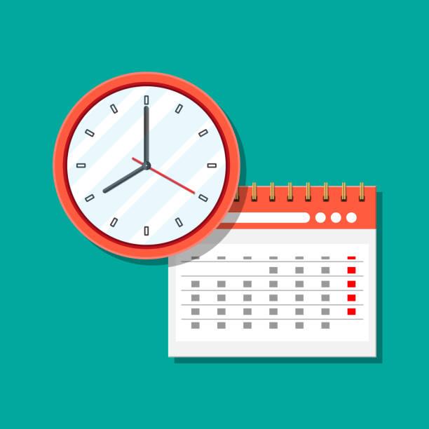 紙スパイラル壁掛けカレンダーと時計。 - 出勤点のイラスト素材/クリップアート素材/マンガ素材/アイコン素材