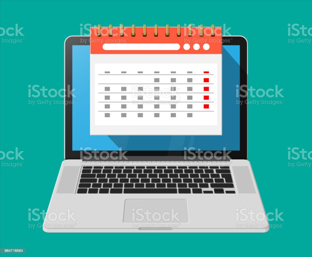 Paper spiral wall calendar in laptop royalty-free paper spiral wall calendar in laptop stock vector art & more images of business