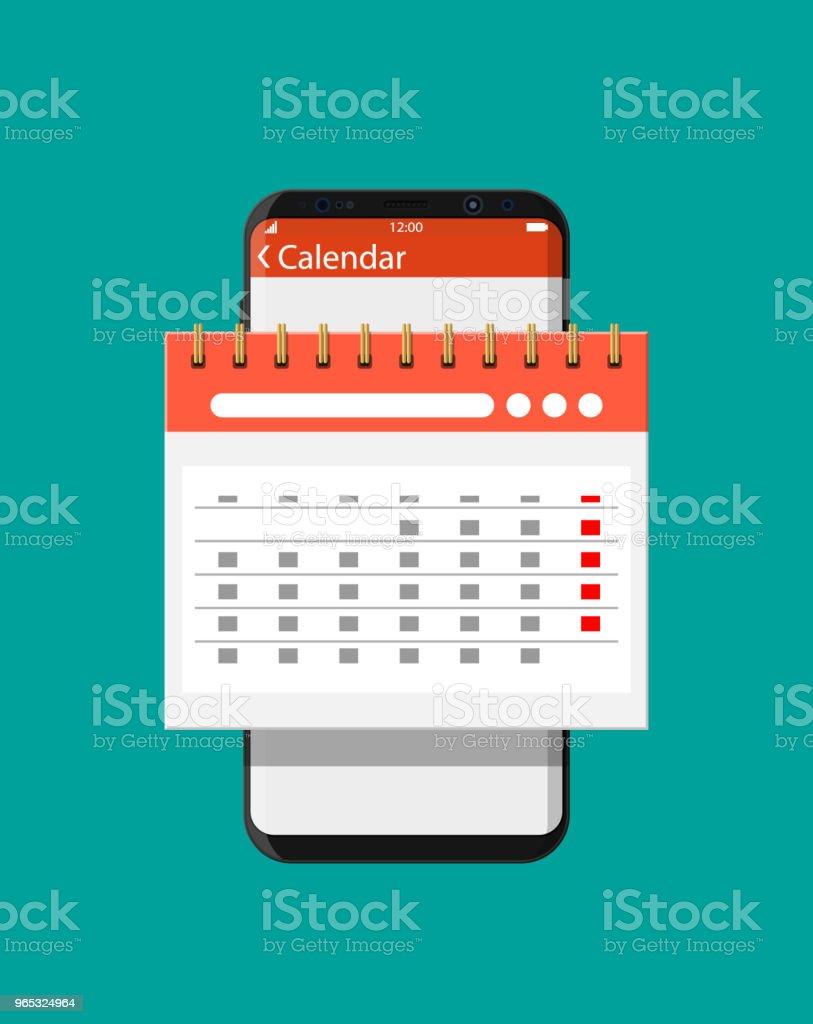 Paper spiral wall calendar in smartphone paper spiral wall calendar in smartphone - stockowe grafiki wektorowe i więcej obrazów aplikacja mobilna royalty-free