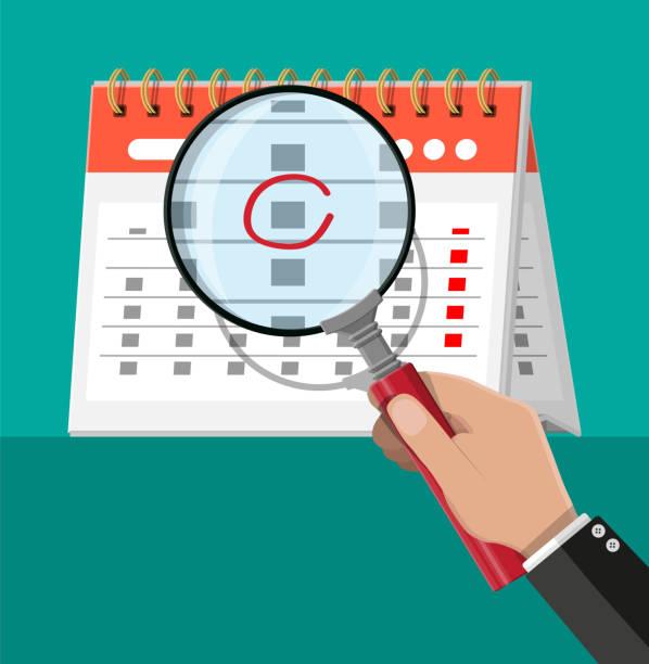 ilustraciones, imágenes clip art, dibujos animados e iconos de stock de calendario de pared de la espiral de papel. magnifying glass - zoom meeting