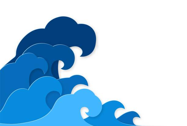 Paper splash. Curly splashes of blue water sea waves paper cut design, ocean storm tsunami in japanese origami style vector concept Paper splash. Curly splashes of blue water sea waves paper cut design, ocean storm tsunami in japanese origami style vector papercut nature concept tsunami stock illustrations