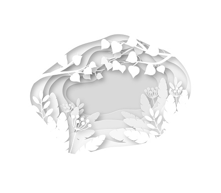 Paper spring background. White grass, leaves and tree branches cutting from layers paper. Origami wedding vector decoration greeting card