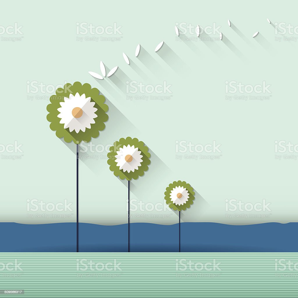 Paper spring tree vector art illustration