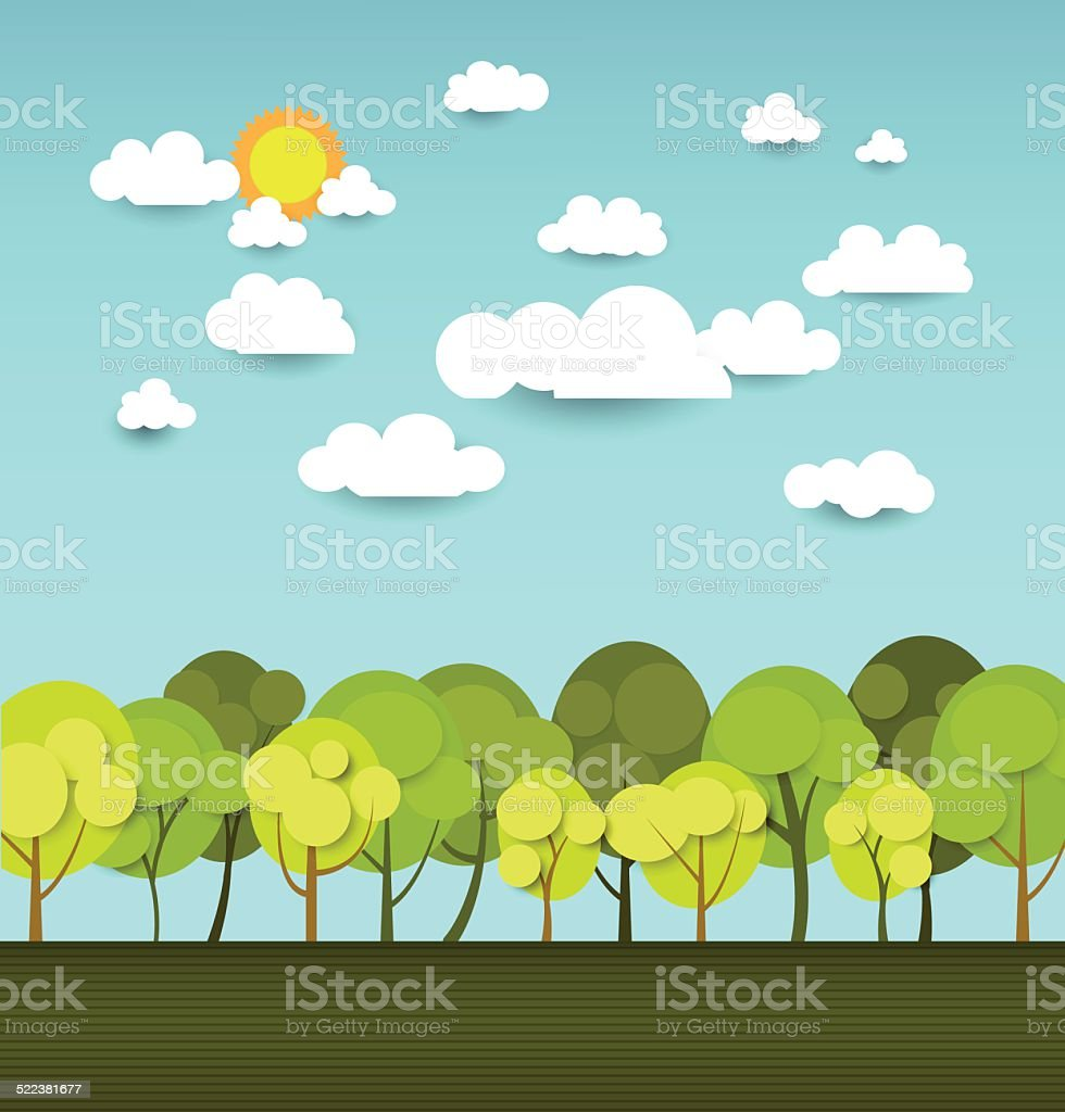 Paper spring tree with space for design vector art illustration