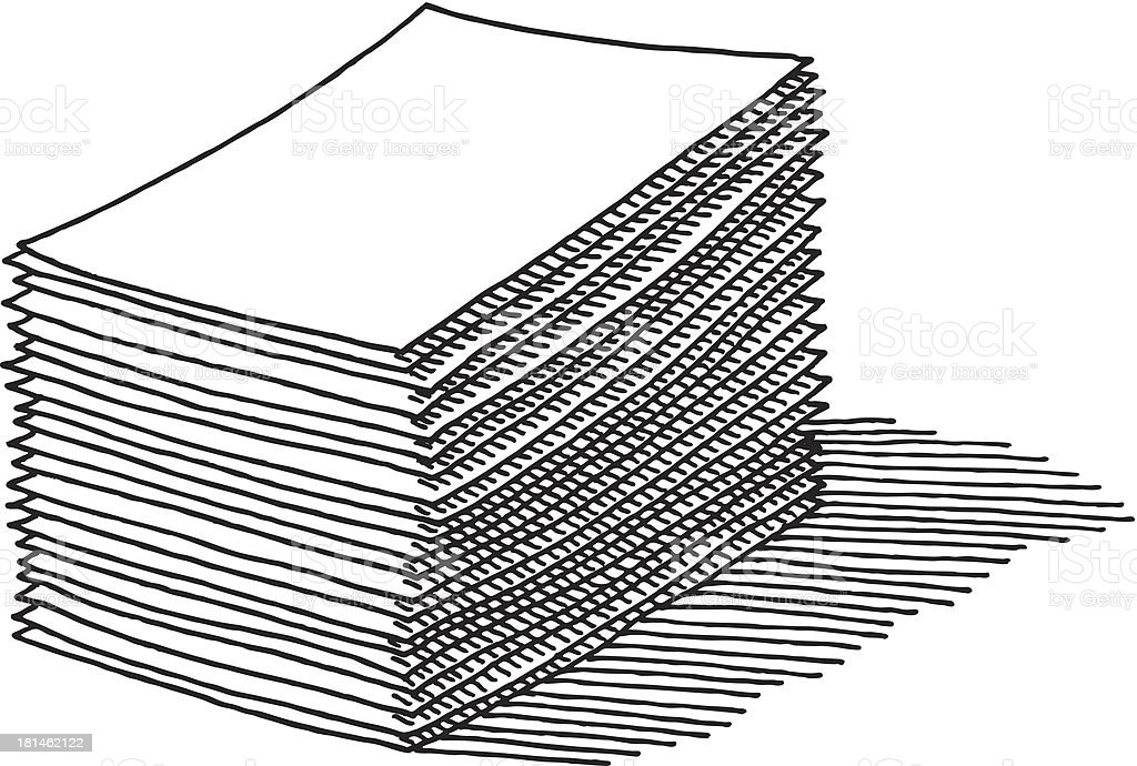Paper Stack Drawing vector art illustration