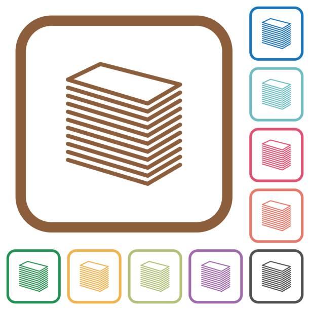 Papier-Stapel einfache Symbole – Vektorgrafik
