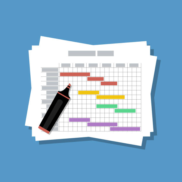 paper stack with gantt chart project estimated schedule paper stack with gantt chart project estimated schedule gantt chart stock illustrations