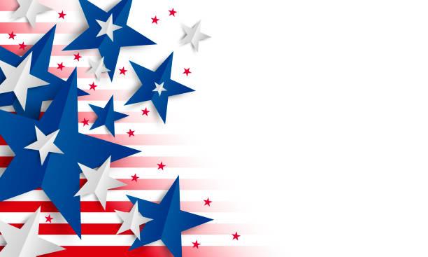 Papierstern auf weißem Hintergrund mit Kopierraum Unabhängigkeitstag und Urlaub Banner Vektor-Illustration – Vektorgrafik