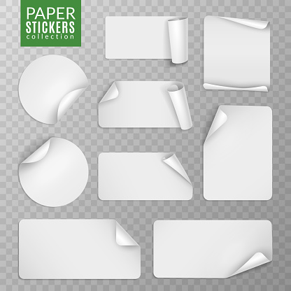 Paper stickers set. White label sticker page, blank badge bent note sticky banners curled corners wrapped sheets. Vector isolated