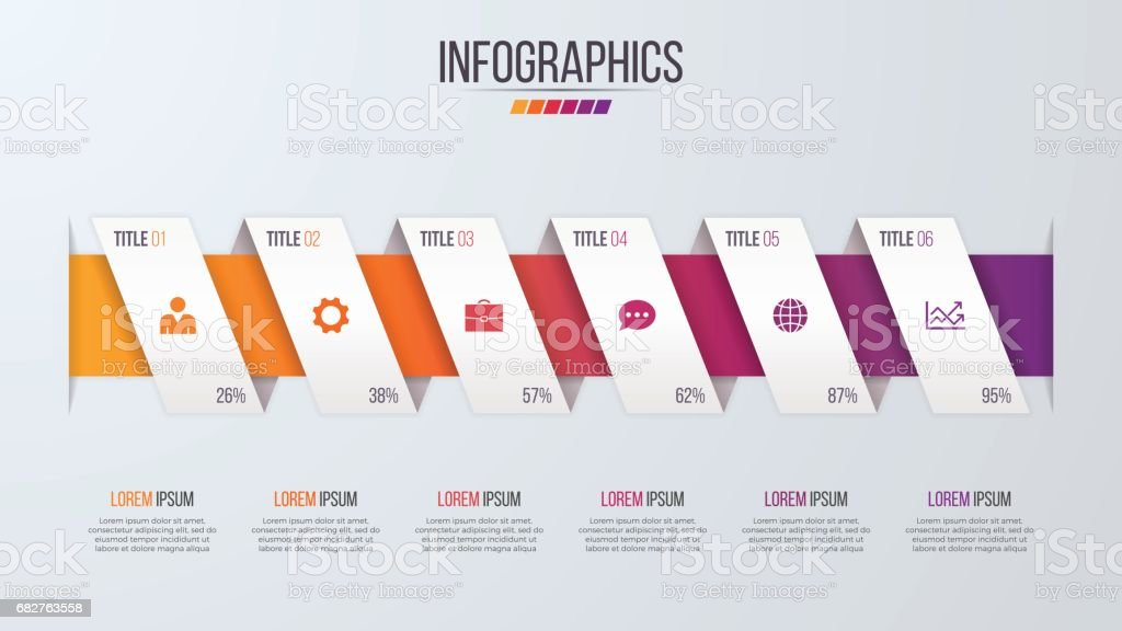 Paper style infographic timeline design template with 6 steps. vector art illustration