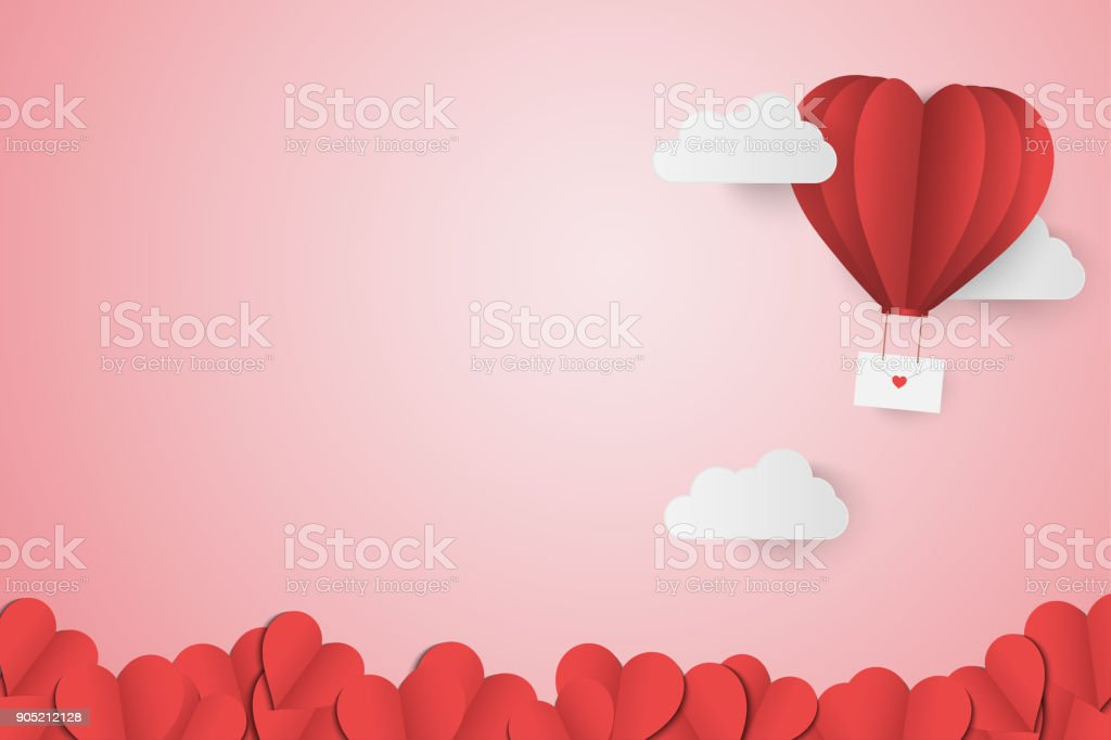 Paper Style love of valentine day , balloon flying over cloud and Paper Heart with float on the sky, Send love letter with copy space , vector illustration background