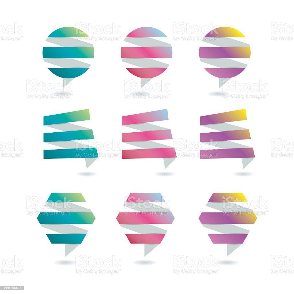 Paper stylish icon set. vector art illustration