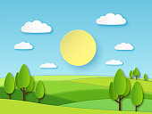 Paper summer landscape. Panoramic green field with trees and blue sky with white clouds. Layered papercut ecology vector 3d cartoon nature horizon concept
