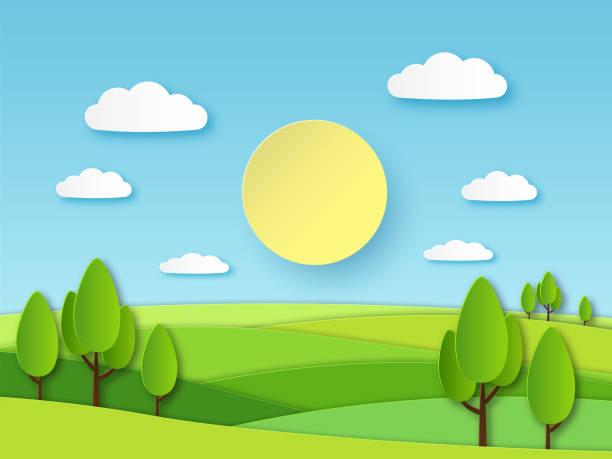 illustrazioni stock, clip art, cartoni animati e icone di tendenza di paper summer landscape. panoramic green field with trees and blue sky with white clouds. layered papercut ecology vector 3d concept - sfondo paesaggi
