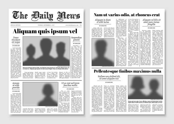 paper tabloid newspaper vector layout. editorial news template - newspaper stock illustrations
