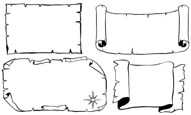 illustrations, cliparts, dessins animés et icônes de modèle de papier en quatre dessins - cartes au trésor