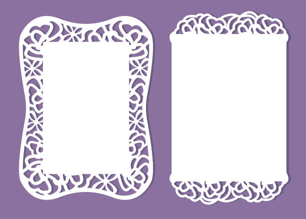 Paper template invitation ( baby shower, wedding, birthday, baptism) Greeting card women's day. Set of laser cutting vector design frame. White cut paper flower on purple background. Roses for mommy decorative laser cut set stock illustrations