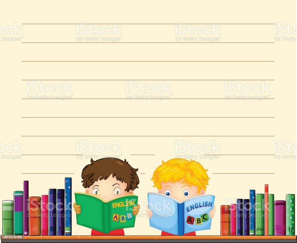 Ilustración de Plantilla De Papel Con Los Niños Leyendo Libros y más ...