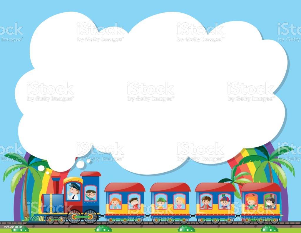 Ilustración de Plantilla De Papel Con Niños En Tren y más banco de ...