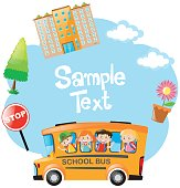 Paper template with children riding on bus