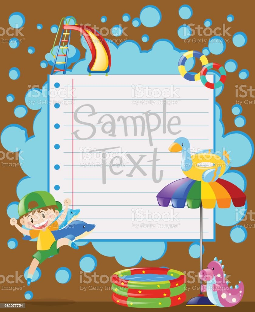 Paper template with happy boy jumping vector art illustration