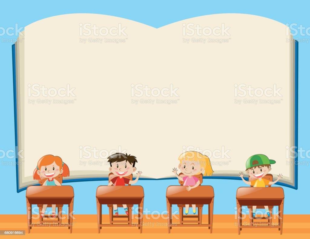 Plantilla De Papel Con Los Niños En Aula - Arte vectorial de stock y ...