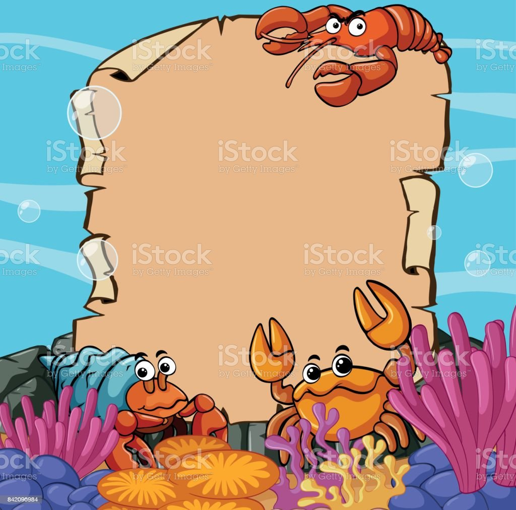 Paper template with sea animals underwater illustration