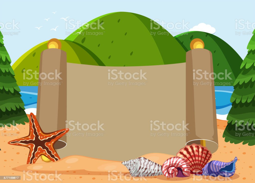 Paper template with seashells and ocean background vector art illustration
