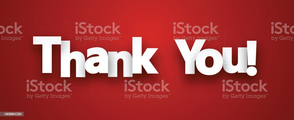 Paper thank you sign vector art illustration