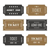 Paper tickets with numbers. Set of vector templates entry ticket