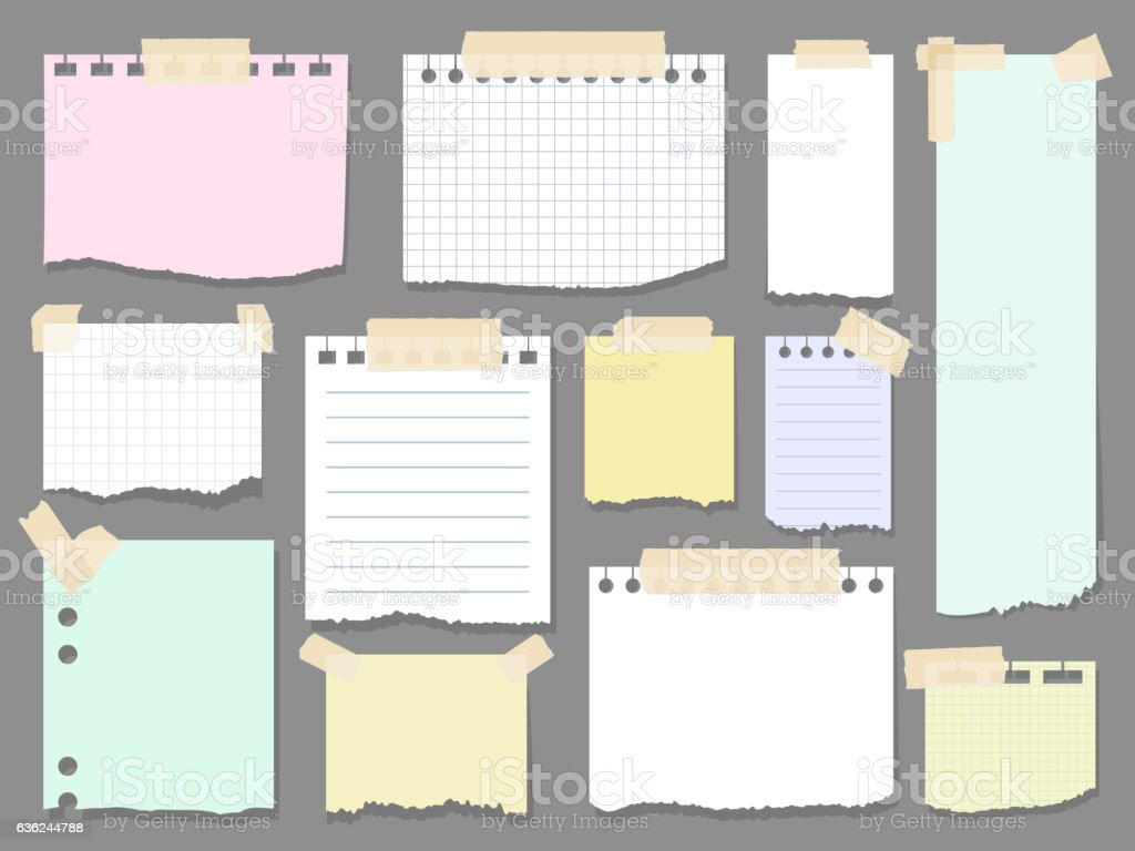 Paper torn page notes vector art illustration