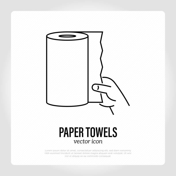 illustrazioni stock, clip art, cartoni animati e icone di tendenza di paper towel roll. thin line icon. tissue for absorption, cleaning. vector illustration. - carta velina