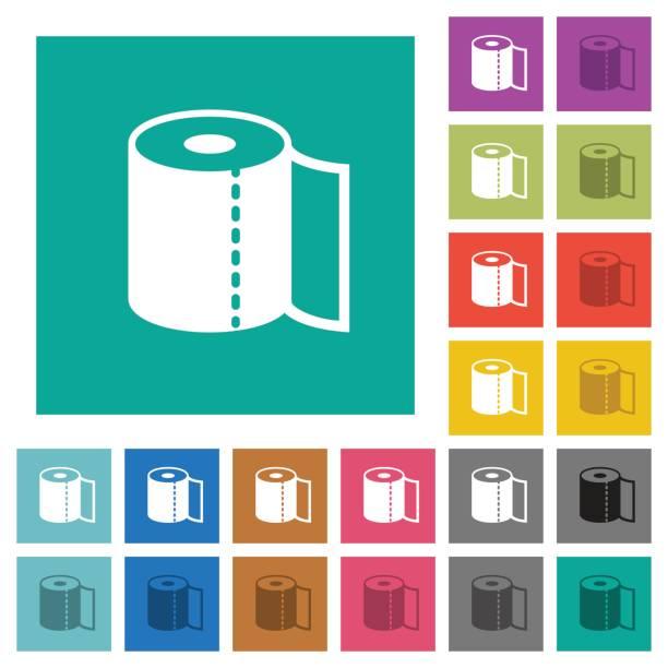 papier-handtuch-quadrat flach multi farbige symbole - winkelküche stock-grafiken, -clipart, -cartoons und -symbole