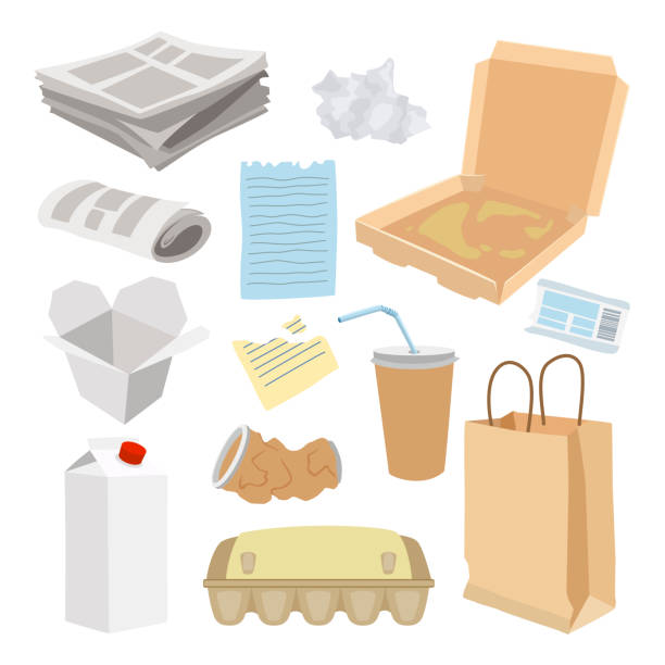 paper trash icon set, garbage recycle concept - karton zbiornik stock illustrations