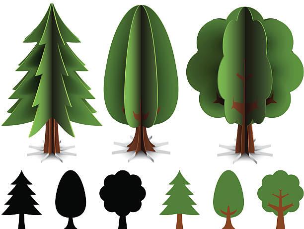 Paper trees vector art illustration
