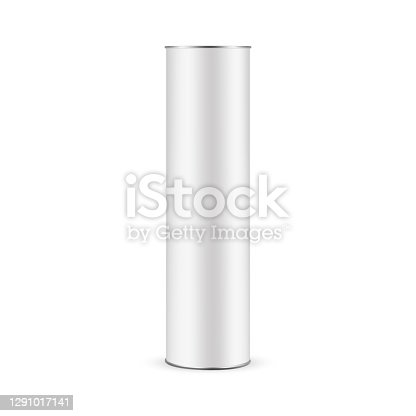 istock Paper Tube Mockup for Bottle Isolated on White Background, Front View 1291017141
