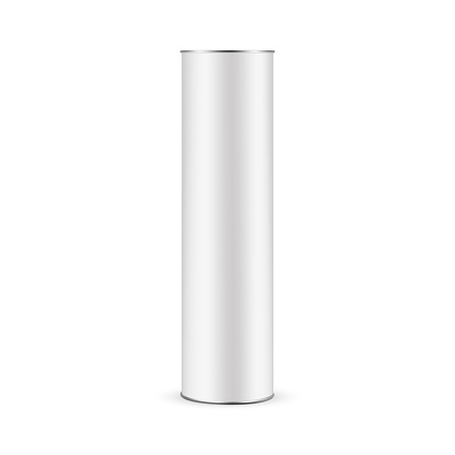 Paper Tube Mockup for Bottle Isolated on White Background, Front View. Vector Illustration