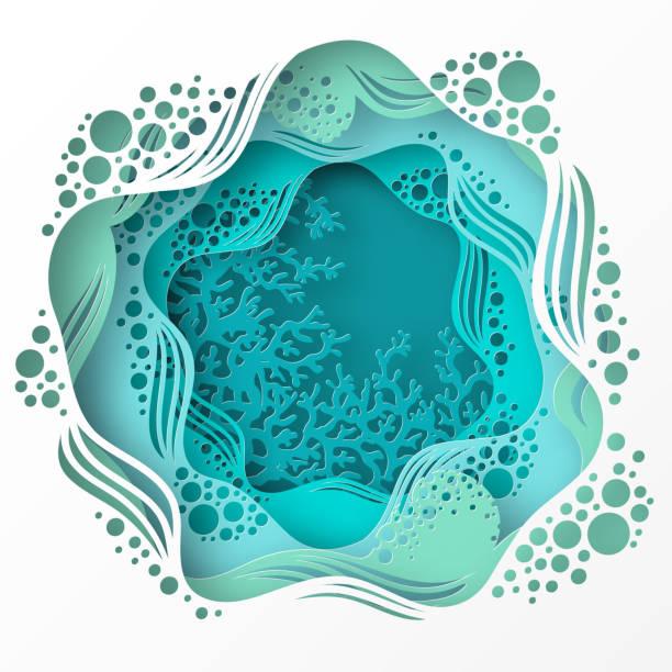 papier unterwasser meereshöhle mit korallenriff, meeresboden in algen, wellen. - unterwasseraufnahme stock-grafiken, -clipart, -cartoons und -symbole
