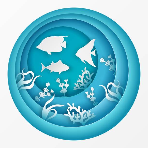 魚、サンゴ、藻類、波で海底の紙海底洞窟。紙はカット深いスタイルのベクトルです。 - 水族館点のイラスト素材/クリップアート素材/マンガ素材/アイコン素材