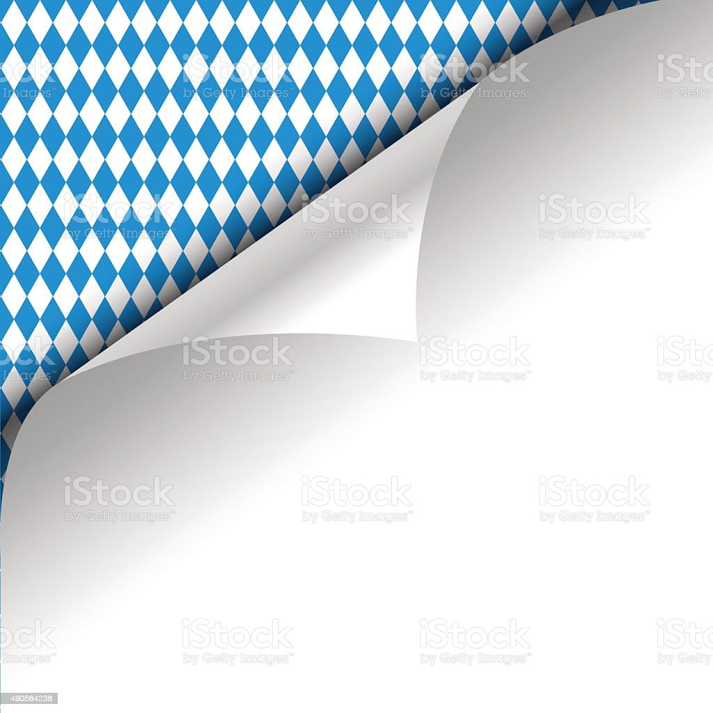 Paper upper left corner on a german Oktoberfest background. vector art illustration
