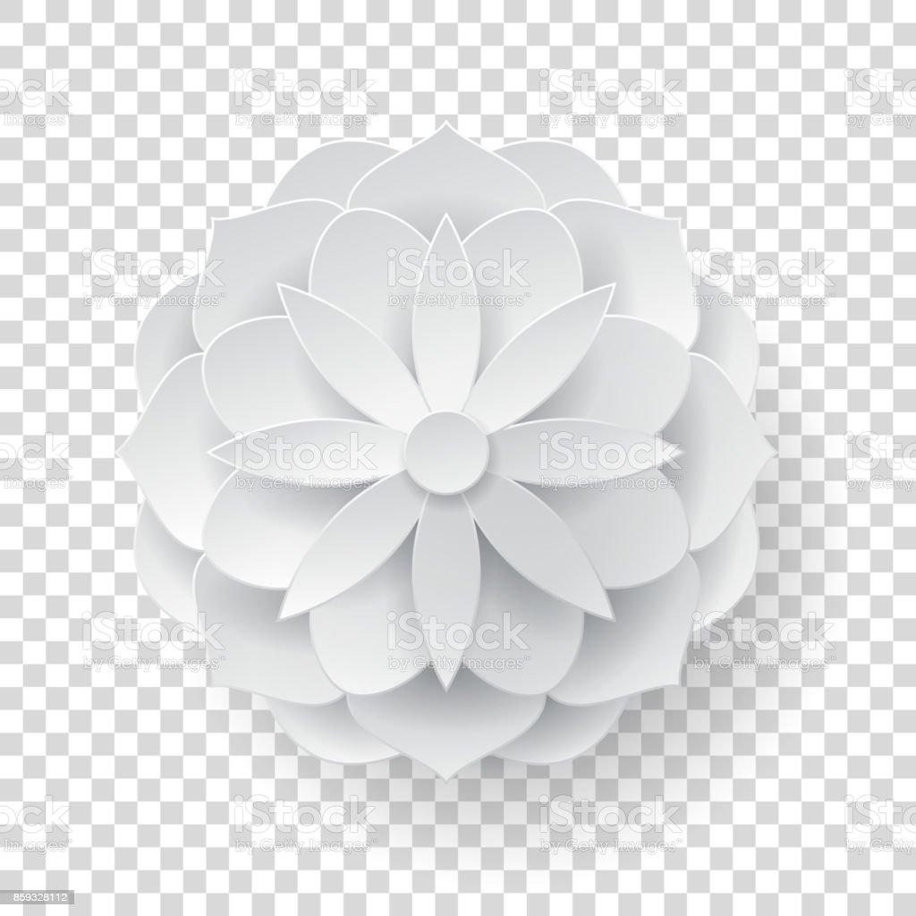 Paper volume flower transparent background vector art illustration