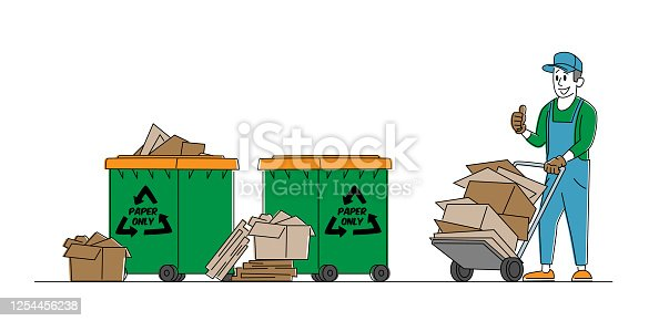 Paper Waste or Trash Recycle Concept. Janitor Character with Trolley and Pile of Used Carton Stand at Recycling Litter Bins. Ecology Protection, Wastepaper Reuse Solution. Linear Vector Illustration