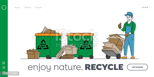 Paper Waste or Trash Recycle Landing Page Template. Janitor Character with Trolley and Pile of Used Carton at Recycling Litter Bins. Ecology Protection, Wastepaper Reuse. Linear Vector Illustration