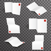Paper white accordion different points of view mockup template set