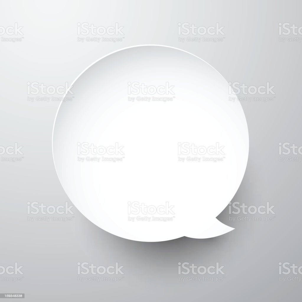 Paper white round speech bubble. royalty-free stock vector art
